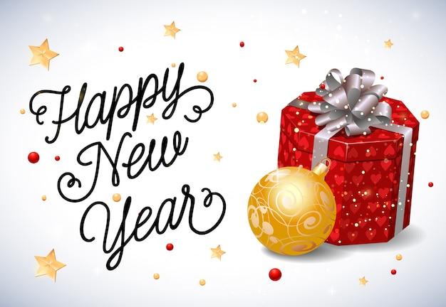 Rotulação do ano novo com caixa atual