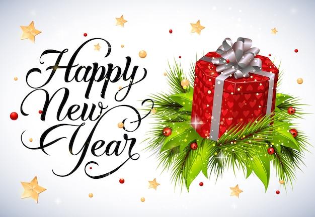 Rotulação do ano novo com moscovo e caixa