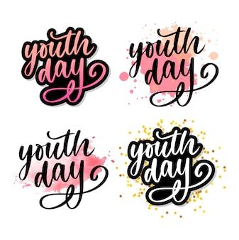 Rotulação do slogan amarelo do dia internacional da juventude
