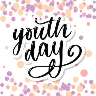 Rotulação do slogan de fundo amarelo de dia internacional da juventude