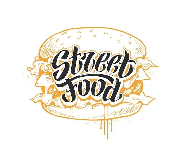 Rotulação e hambúrguer de comida de rua. graffiti manuscrito palavras 'streed food'. letras pretas à mão livre e hambúrguer desenhado à mão. ilustração do vetor eps10.