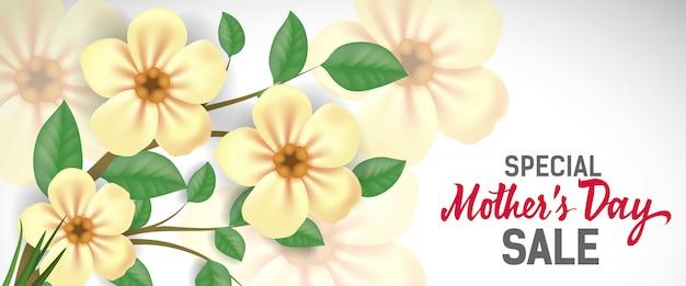 Rotulação especial da venda da dia das mães com flores amarelas. propaganda da venda do dia de mães.