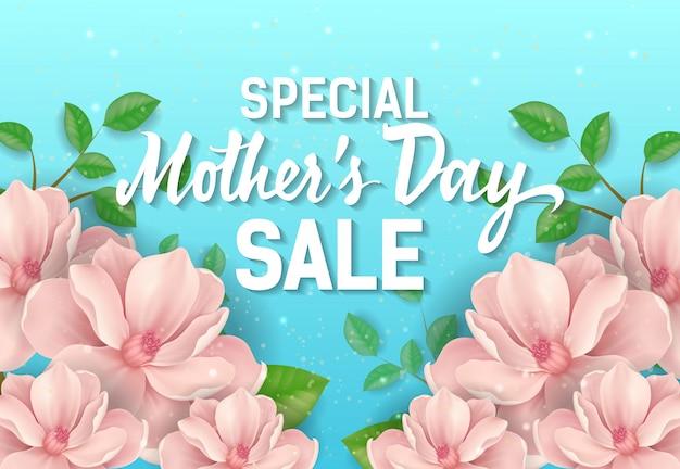 Rotulação especial da venda do dia de mães com flores cor-de-rosa. propaganda da venda do dia de mães.