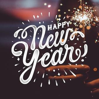 Rotulação feliz ano novo 2020 fundo
