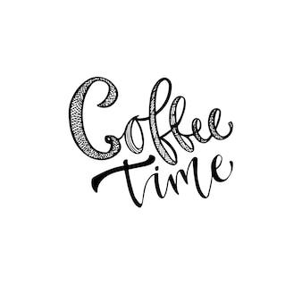 Rotulação moderna do vetor. frase de caligrafia para imprimir. hora do café