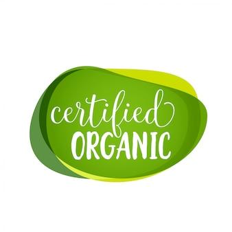 Rotulação orgânica certificada em manchas verdes. elemento de design de promoção.