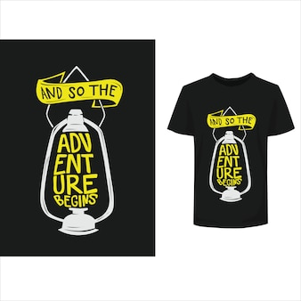 Rotulação tipografia inspirada citações aventura design de t-shirt