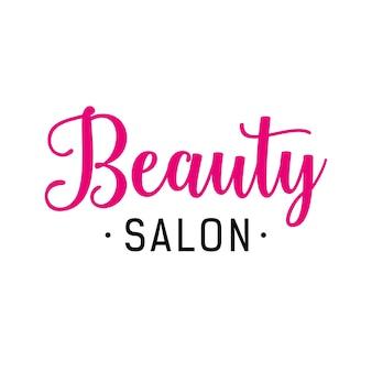 Rotulagem de salão de beleza em rosa e preto