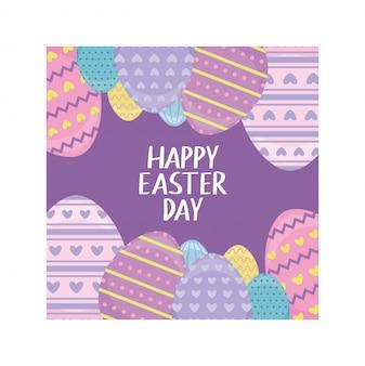 Rotular feliz dia de páscoa com ovos, cartão de felicitações