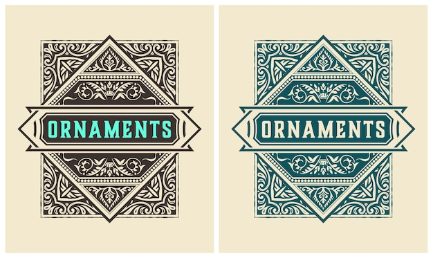 Rótulo antigo com detalhes florais. elementos por camadas.