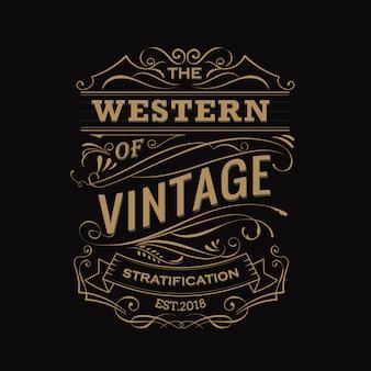 Rótulo antigo desenhado à mão para tipografia vintage
