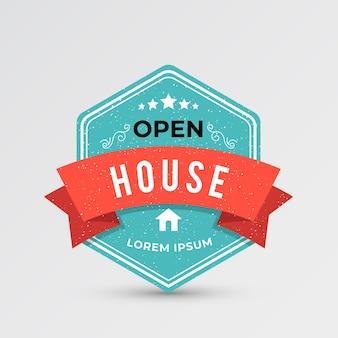 Rótulo azul de casa aberta