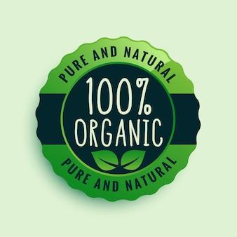 Rótulo certificado de 100% de alimentos orgânicos