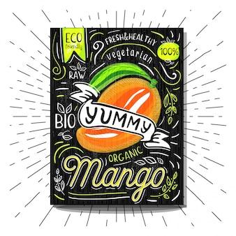 Rótulo colorido cartaz adesivos comida frutas vegetais giz esboço estilo