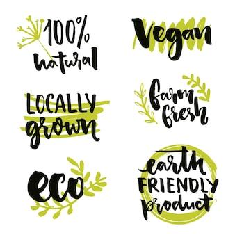 Rótulo cultivado localmente e sinal vegan design de adesivo livre de ogm conjunto de emblemas naturais do vetor 100