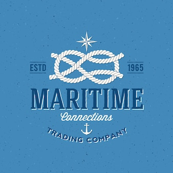 rótulo da empresa comercial retro da marinha ou modelo de logotipo