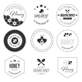 Rótulo de abelha de mel e banner de logotipo