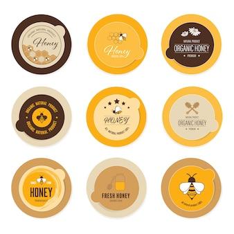 Rótulo de abelha de mel e produto natural de logotipo.