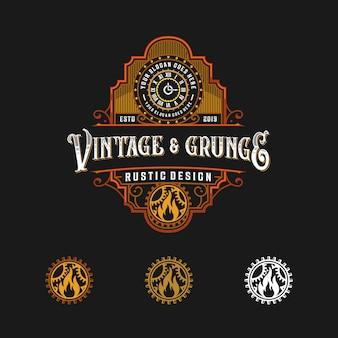 Rótulo de abstrack rústico vintage logotipo
