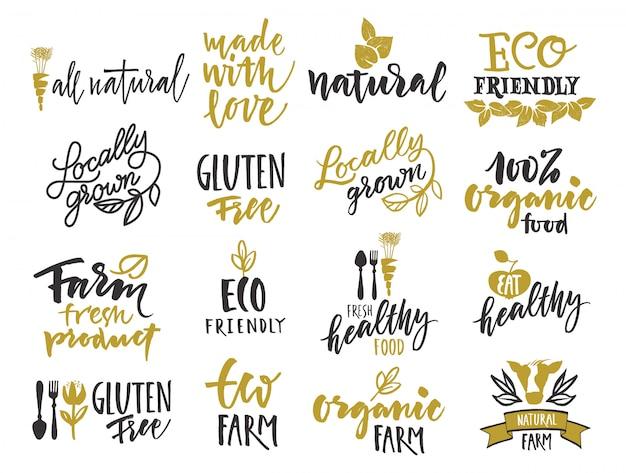 Rótulo de alimentos orgânicos naturais. design de produtos agrícolas eco