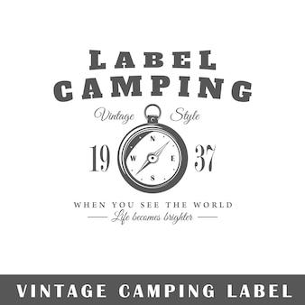 Rótulo de amping isolado no fundo branco. elemento de design. modelo de logotipo, sinalização, design de marca.