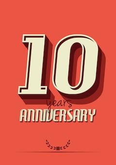 Rótulo de aniversário de 10 anos