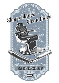 Rótulo de barbearia vintage com cadeira de barbeiro e navalha