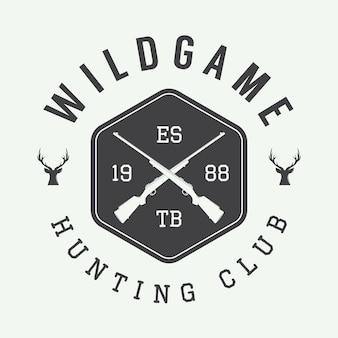 Rótulo de caça vintage, logotipo ou emblema e elementos de design. ilustração vetorial