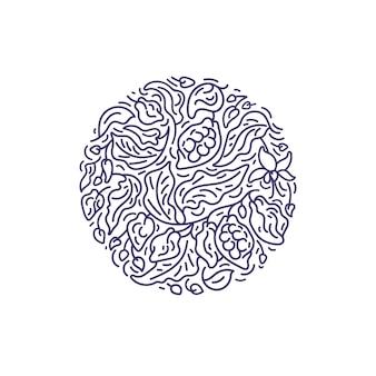Rótulo de cacau abstrato em círculo arte linha padrão gráfico ramo textura folhas chocolate