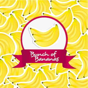 Rótulo de cacho de bananas sobre fundo padrão de bananas