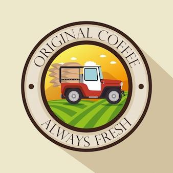 Rótulo de café original com transporte
