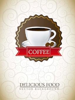 Rótulo de café sobre ilustração em vetor fundo ornamento