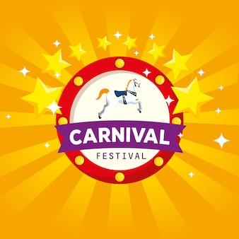 Rótulo de carnaval com decoração de cavalo e estrelas com fita