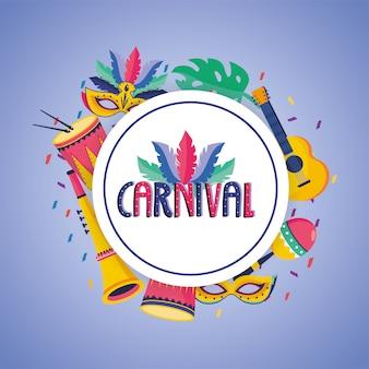 Rótulo de carnaval com decoração de máscara e tambor