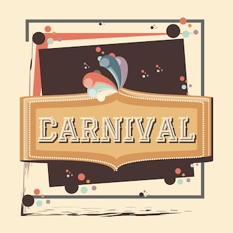 Rótulo de carnaval vintage ícone vector ilustração design