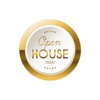 Rótulo de casa aberta dourada