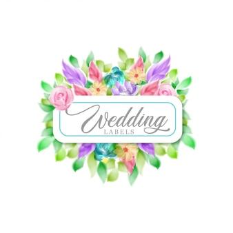 Rótulo de casamento floral em aquarela