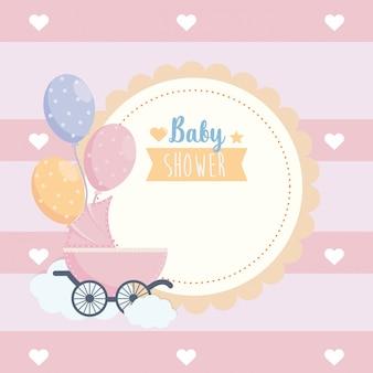 Rótulo de celebração de cartaz de chuveiro de bebê