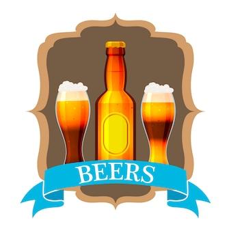 Rótulo de cerveja artesanal e rótulo de pescoço na garrafa marrom.