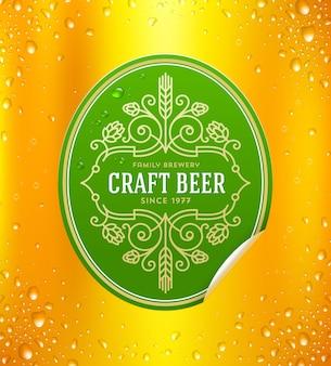 Rótulo de cerveja com elementos decorativos floreios