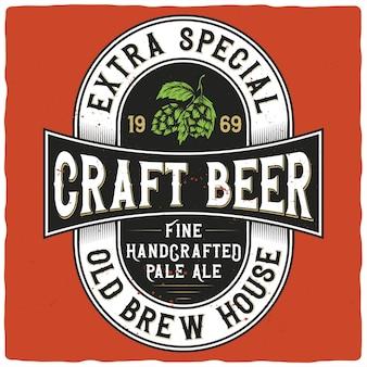 Rótulo de cerveja com ilustração de lúpulo