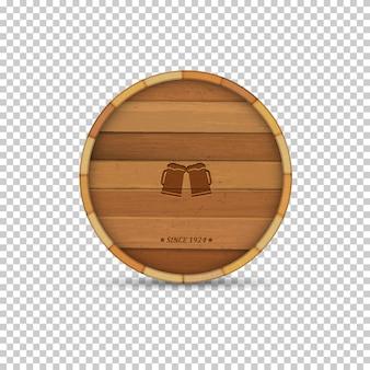 Rótulo de cerveja em barril de madeira de forma