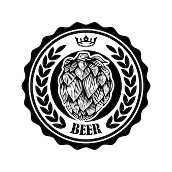 Rótulo de cerveja vintage com lúpulo