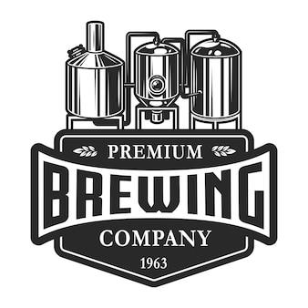 Rótulo de cervejaria monocromático vintage