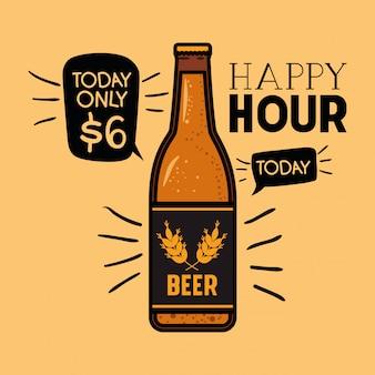 Rótulo de cervejas de happy hour com garrafa