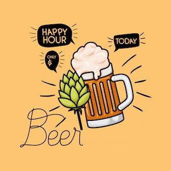 Rótulo de cervejas de happy hour com jar
