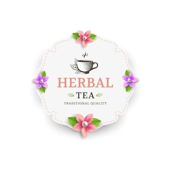 Rótulo de chá de ervas com flores e xícara de chá.