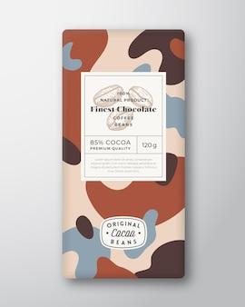 Rótulo de chocolate café formas abstratas vetoriais layout de design de embalagens com sombras realistas ...