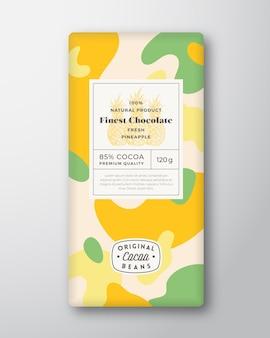 Rótulo de chocolate de abacaxi formas abstratas vetoriais layout de design de embalagem com mod de sombras realista.