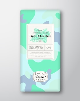 Rótulo de chocolate mentolado formas abstratas vetoriais layout de design de embalagens com sombras realistas ...